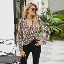 Snakeskin Print Ruched Wrap Blouse