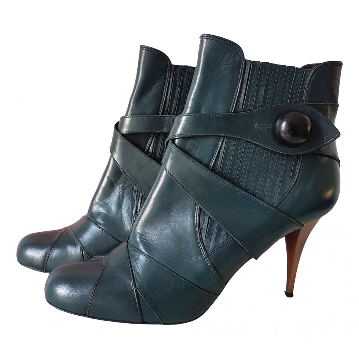 Miu Miu - Boots   pour femme en cuir - vert