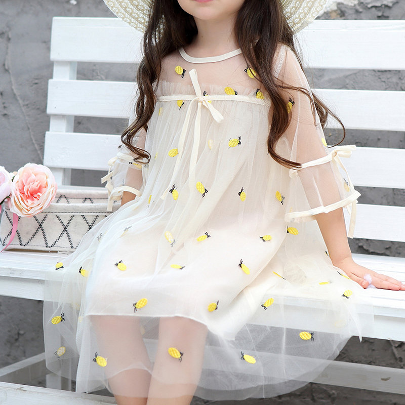 Pineapple Embroidery Girls Short Sleeve Summer Casual Dress For 2Y-9Y