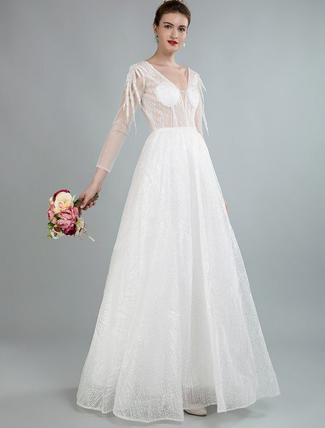 Milanoo Simple Wedding Dress A Line V Neck Long Sleeves Flowers Applique Bridal Dresses