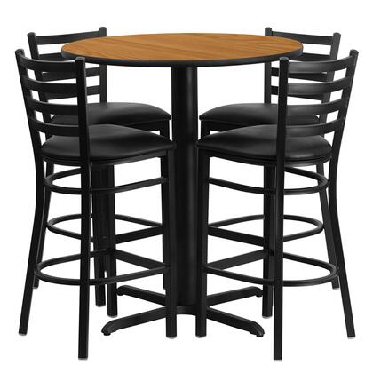 HDBF1023-GG 30 Round Natural Laminate Table Set with Ladder Back Metal Bar Stool and Black Vinyl Seat Seats