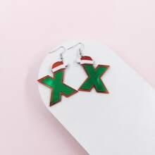 Christmas Hat Letter Drop Earrings