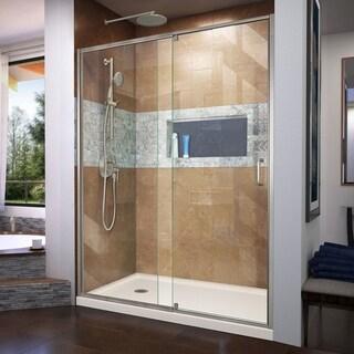 DreamLine Flex 30 in. D x 60 in. W x 74 3/4 in. H Pivot Shower Door and Shower Base Kit - 30