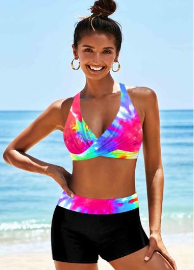 Sexy Bikinis Halter High Waist Tie Dye Print Bikini Set - XL