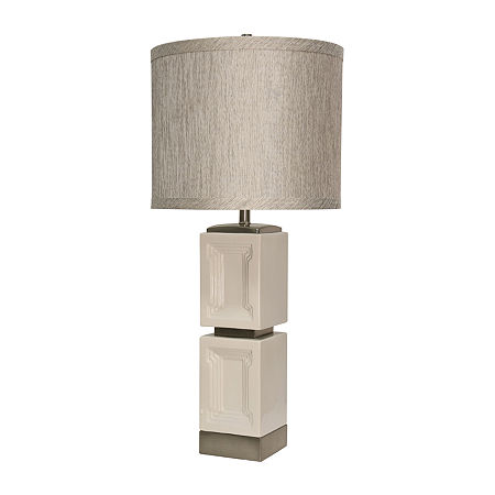 Stylecraft 16.5 W Bozeman White Ceramic Table Lamp, One Size , White