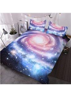 Pink Spiral Galaxy 3D Warm Comforter 3-Piece Soft Breeze Comforter Sets with 2 Pillowcases