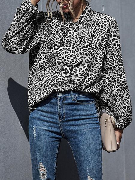 Milanoo Leopard Print Blouse Women Designed Neck Bow Long Sleeve Casual Shirt
