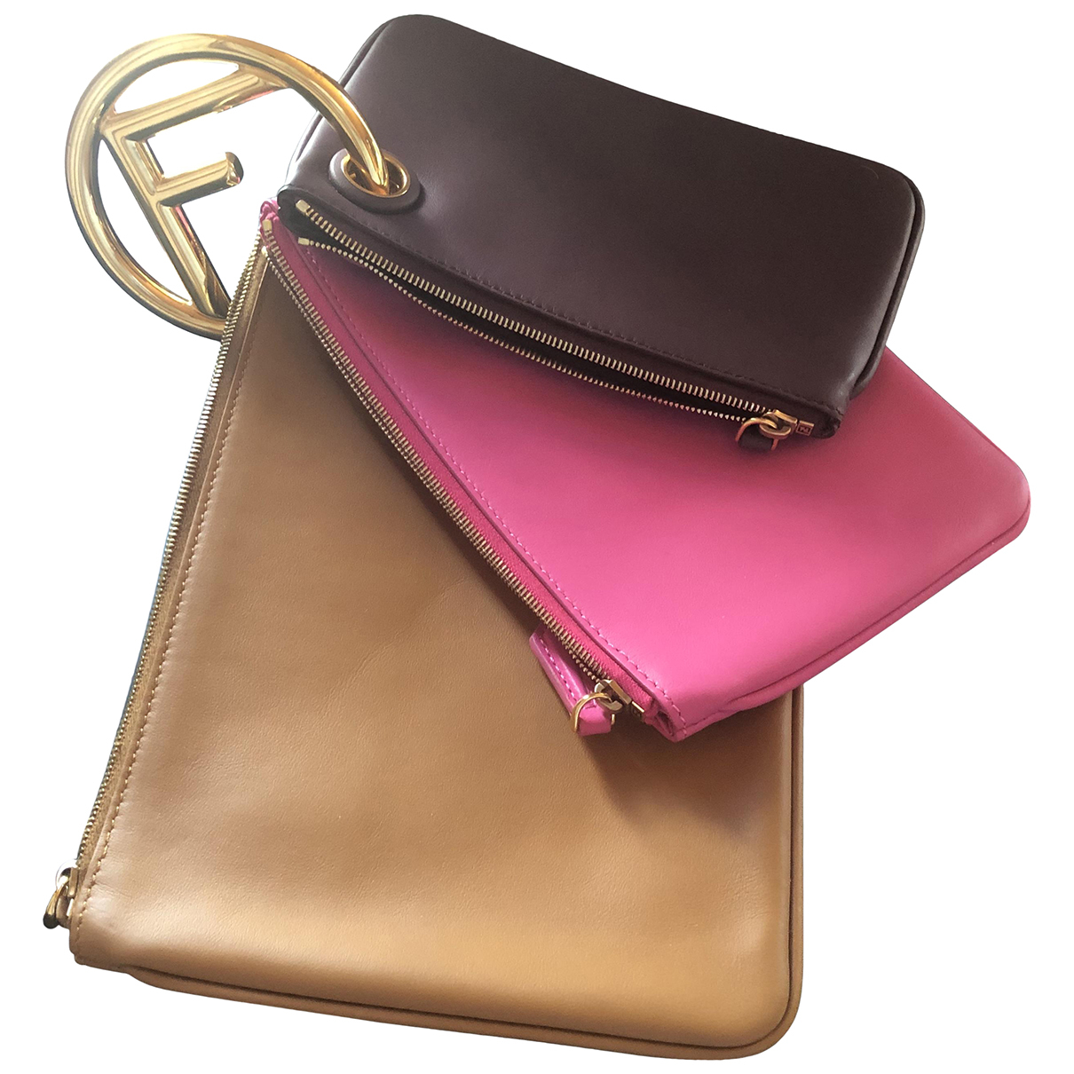 Fendi - Pochette Triplette pour femme en cuir - rose