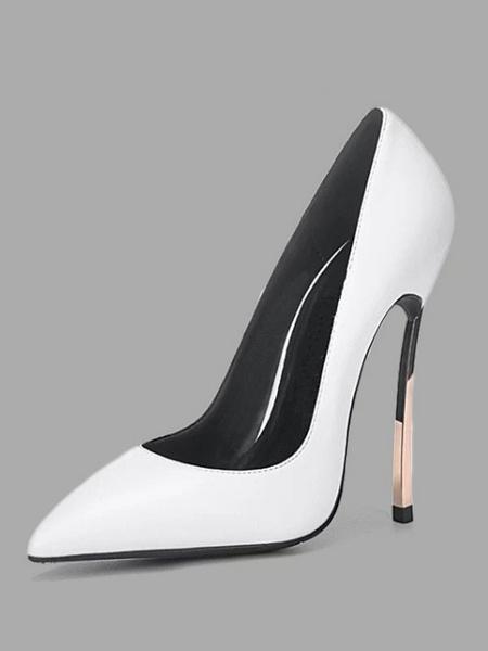 Milanoo Women's White Basic High Heels Slip-On Pointed Toe Stiletto heel Shoes
