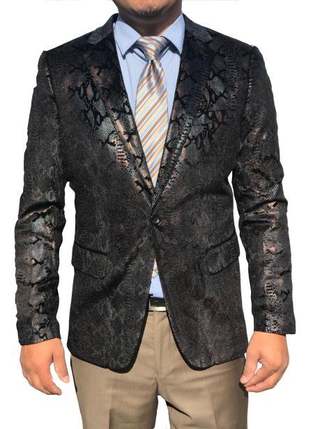 Mens Sequin ~ Shiny  Paisley Snakeskin Black Sport Coat Fashion Blazer