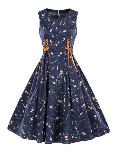 Milanoo Floral Vintage Dress Sleeveless Lace Up Dark Navy Cotton Summer Dress