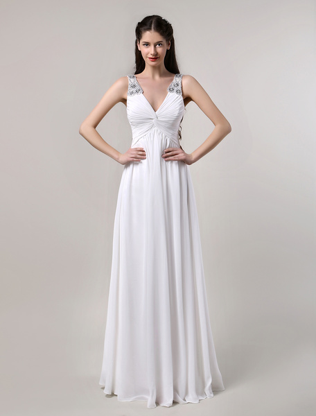 Milanoo Ivory Chiffon V-Neck with Jeweled Straps Wedding Gown