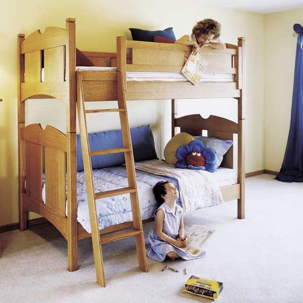 Woodworking Project Paper Plan to Build Kid's Oak Bunk Beds