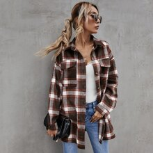Collared Flap Pocket Front Plaid Coat