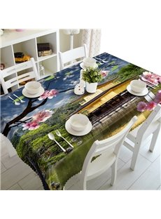Modern Design Natural Lake Scenery Prints Dining Room Decoration 3D Tablecloth