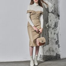 PU LEATHER FITTED 2 IN 1 DRESS