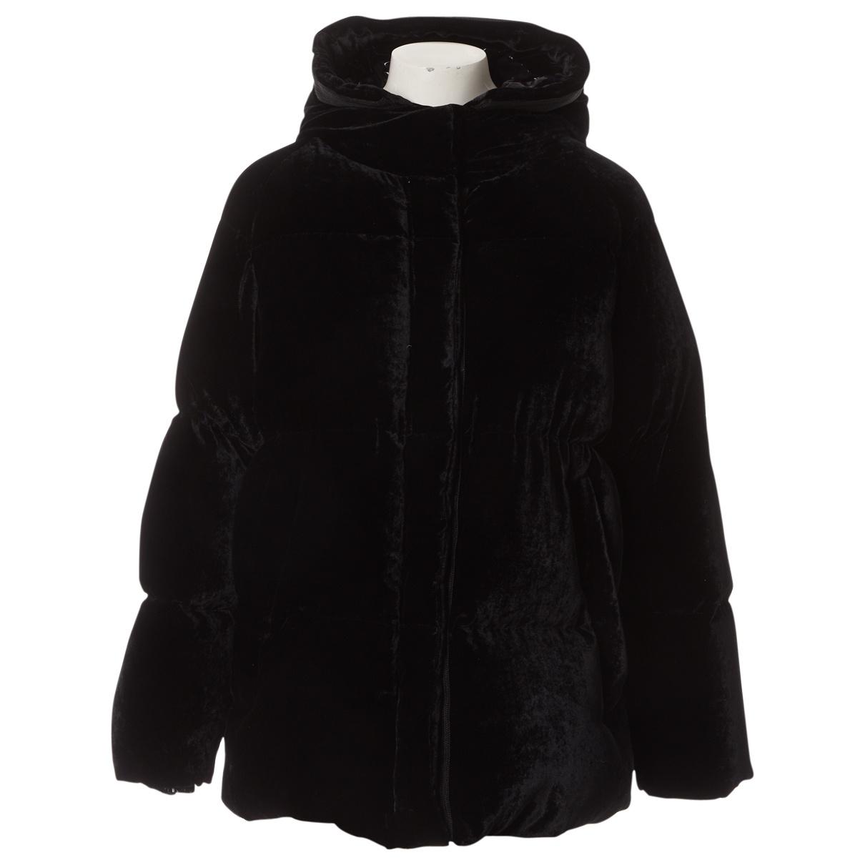 Moncler - Manteau Hood pour femme en velours - noir