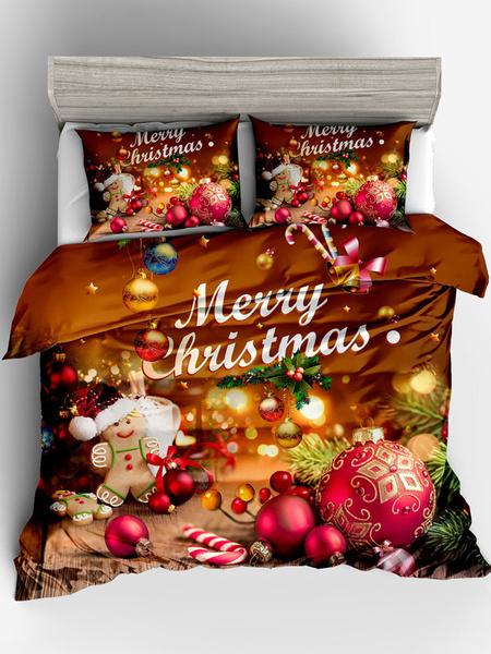 Milanoo Christmas Bedding Set 3-Piece Green Polyester Fiber Bedding