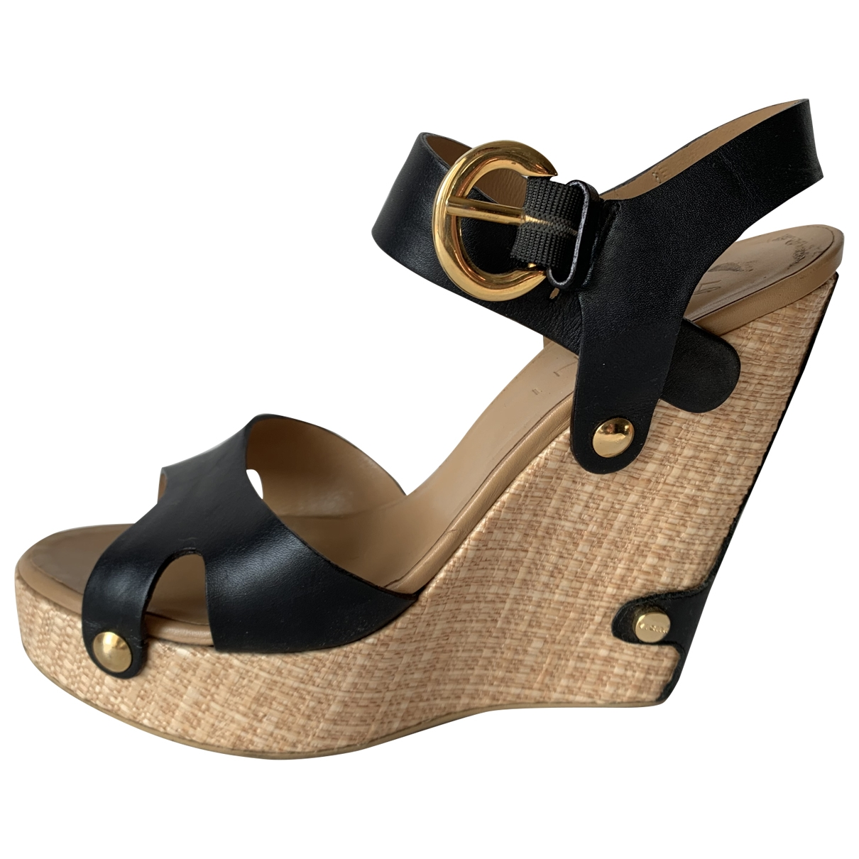 Non Signé / Unsigned \N Black Leather Sandals for Women 39 EU