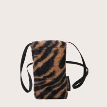 Tiger Print Fluffy Print Crossbody Bag