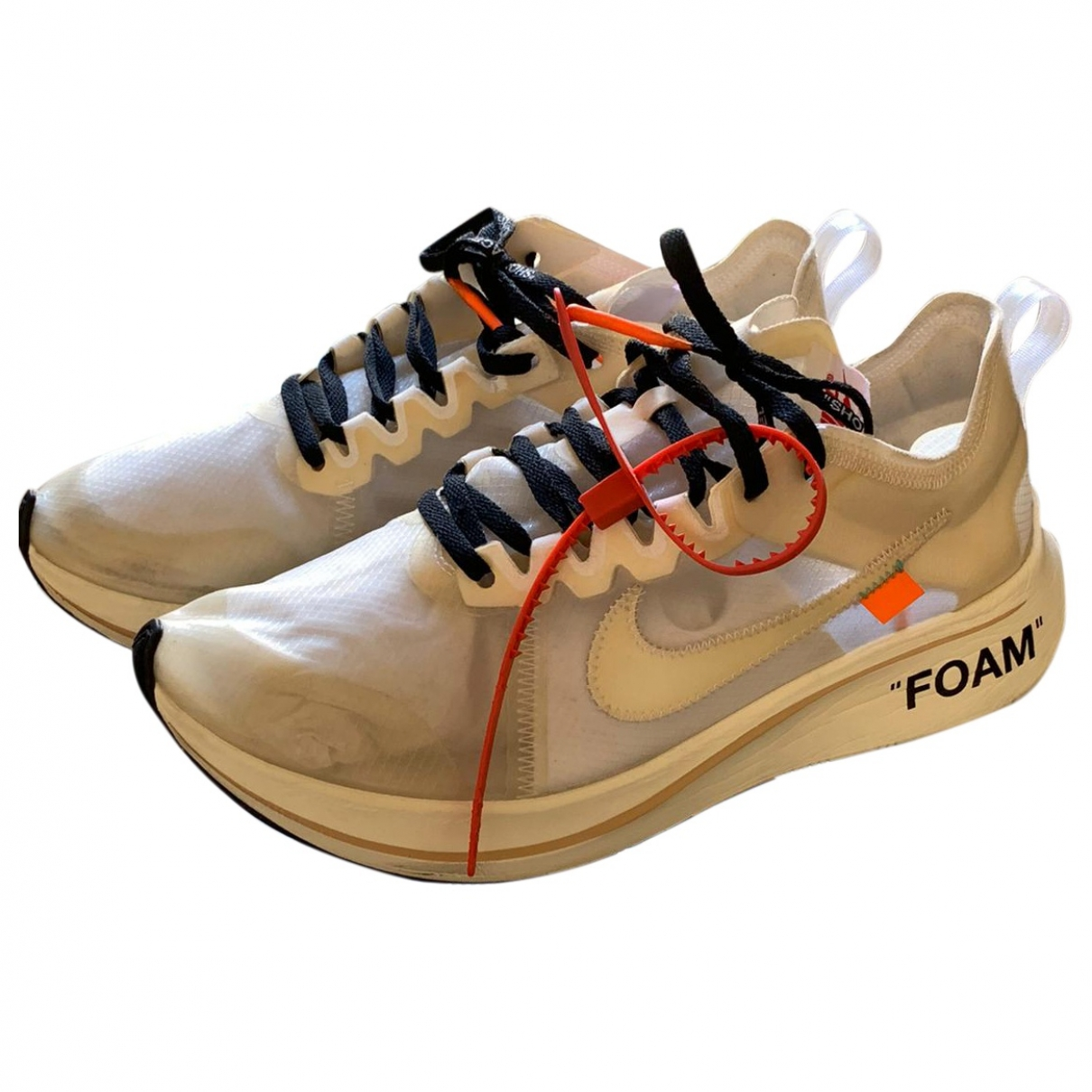 Nike X Off-white - Baskets Zoom Fly pour homme en toile - blanc