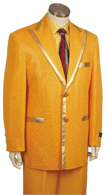 2 Button Gold Zoot Suit  Mens