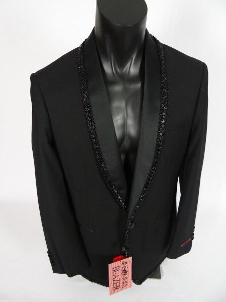 Mens Single Breasted Shawl Lapel Jacket Blazer Black