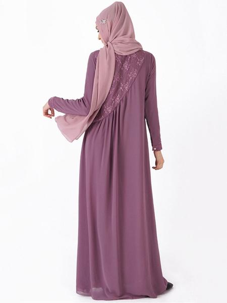 Milanoo Muslim Kaftan Dress Women Long Sleeve Arabian Clothing