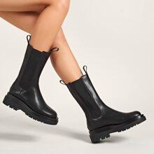 Minimalist Mid Calf Chelsea Boots