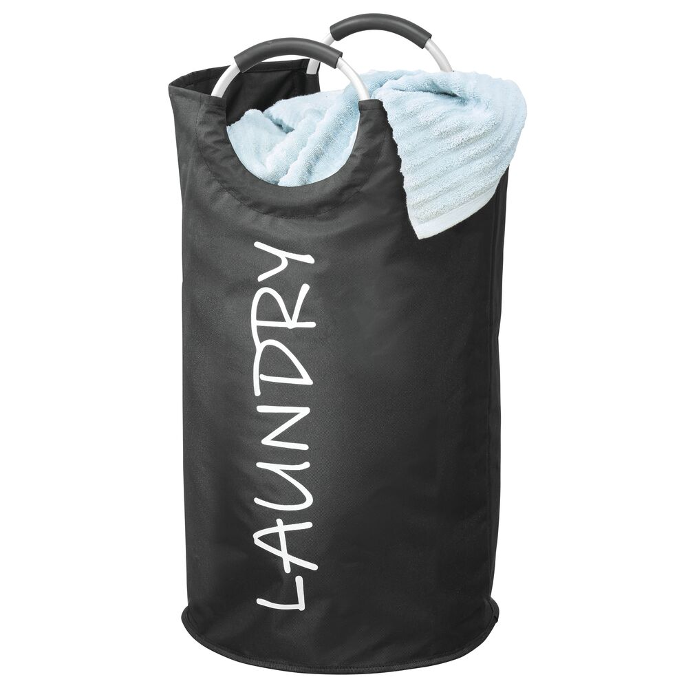 Folding Fabric Laundry Hamper with Easy Grip Handles in Black, by mDesign