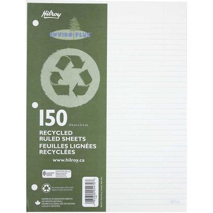 Hilroy@ Feuilles planes recyclees a feuilles mobiles, perfor ees a 3 trous, format lettre