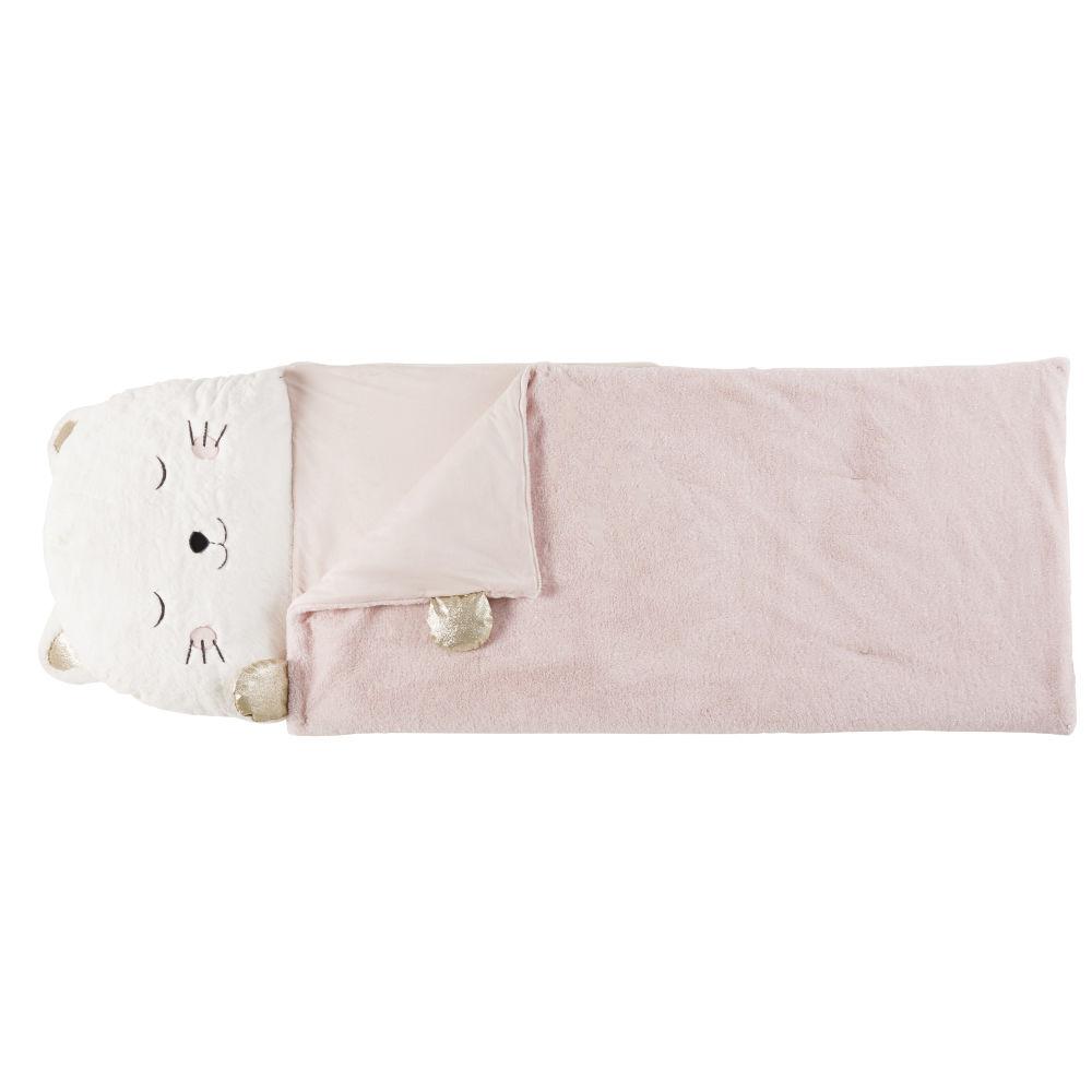 Kinderschlafsack Katze, weiss, rosa und goldfarben
