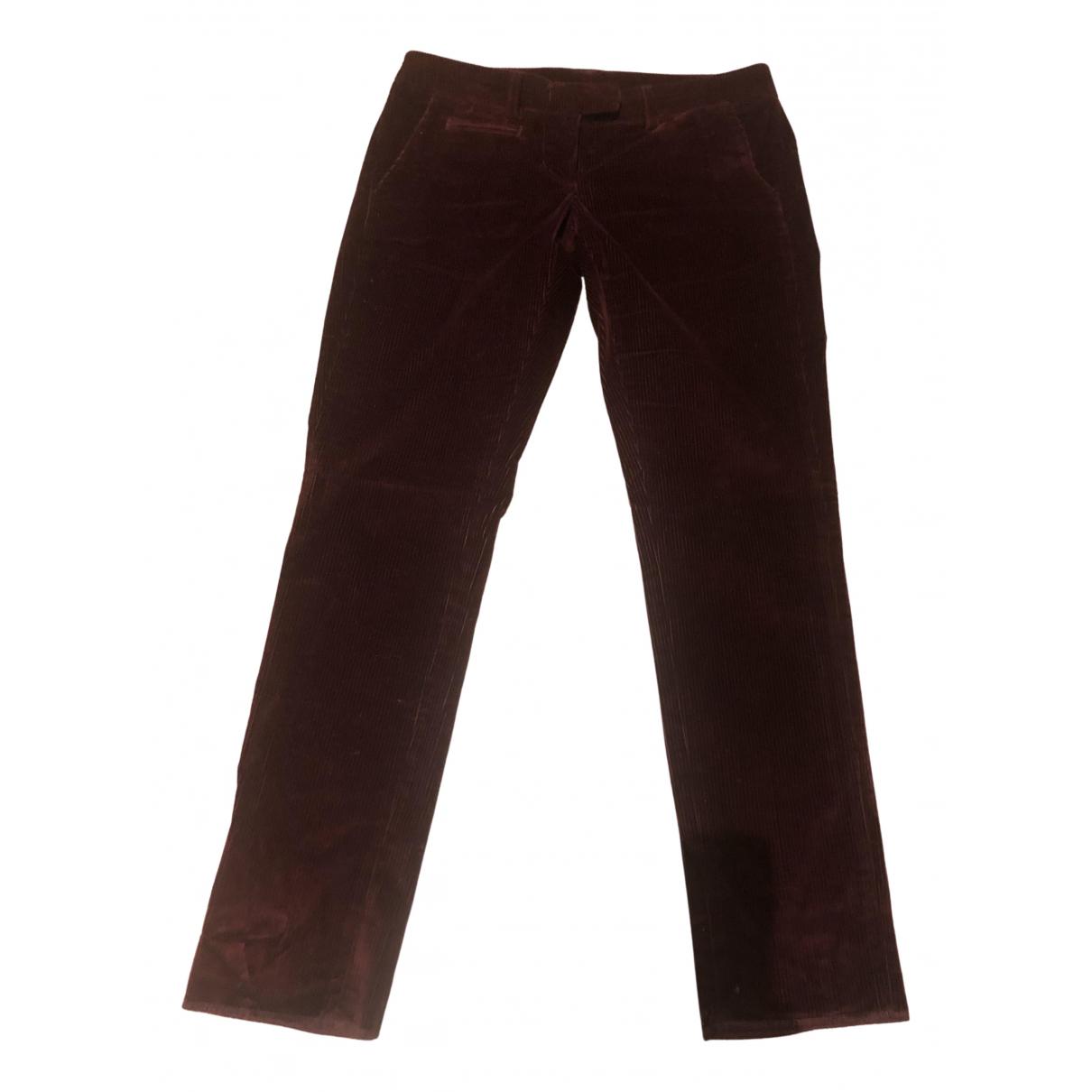 Dondup N Burgundy Velvet Trousers for Women 40 IT