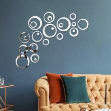 24pcs Circle Mirror Surface Wall Sticker