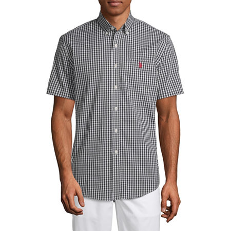 U.S. Polo Assn. Stretch Mens Short Sleeve Checked Button-Down Shirt, Medium , Black