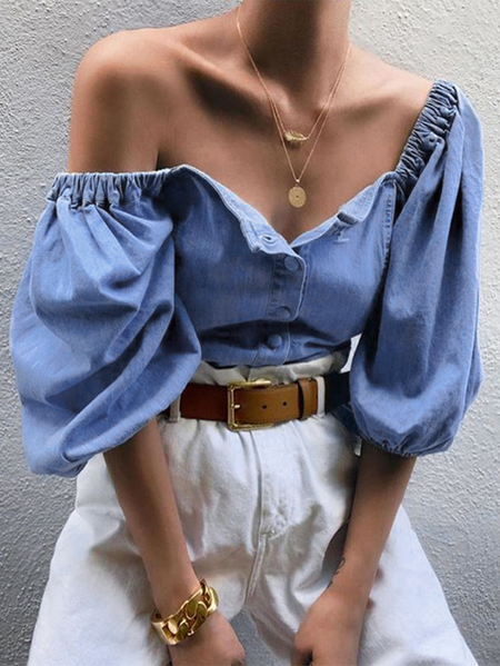 YOINS Blue Button Front Design Puff Sleeves Blouse