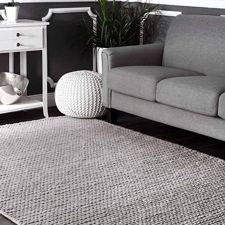 nuLoom Hand Woven Chunky Woolen Cable Rug, One Size , Gray