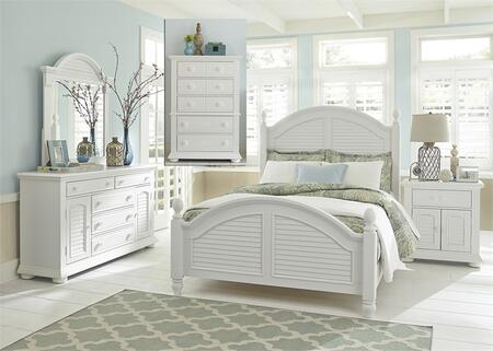 Summer House I Collection 607-BR-QPSDMCN 5-Piece Bedroom Set with Queen Poster Bed  Dresser  Mirror  Chest and Night Stand in Oyster White