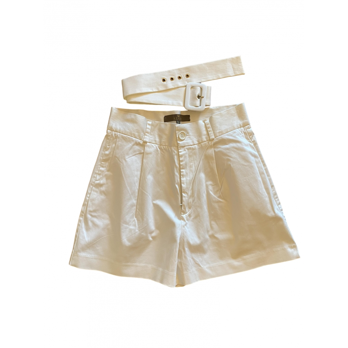 Non Signé / Unsigned \N White Cotton Shorts for Women 42 IT