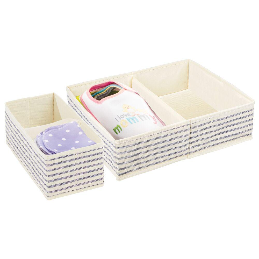 Kids Fabric Closet and Dresser Drawer Storage Organizer in Natural/Cobalt Blue Stripe, 7.5