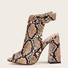 Peep Toe Snakeskin Graphic Ankle Strap Chunky Heels