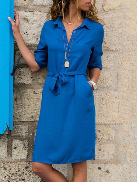 Milanoo Blue Shirt Dresses Women Turndown Collar Half Sleeves Lace Up Short Dress