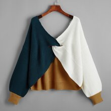 Plus Twist Front Colorblock Sweater