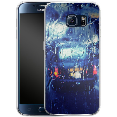 Samsung Galaxy S6 Silikon Handyhuelle - London Taxi In The Rain von Ronya Galka