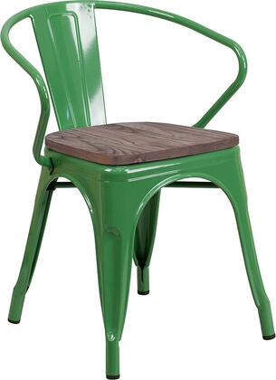 CH31270 Collection CH-31270-GN-WD-GG Stackable Bistro Chair with Walnut Elm Wood Seat  Lightweight Design and Powder Coated Frame and Galvanized