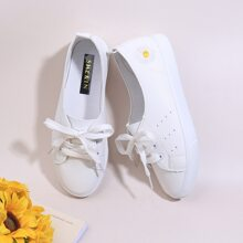 Flower Embroidered Slip On Sneakers