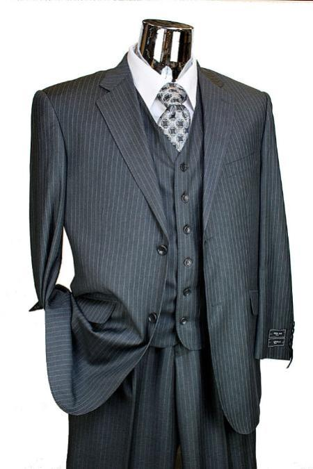 2 Button Suit with Single Pleated Pants Light Charcoal Pinstripe