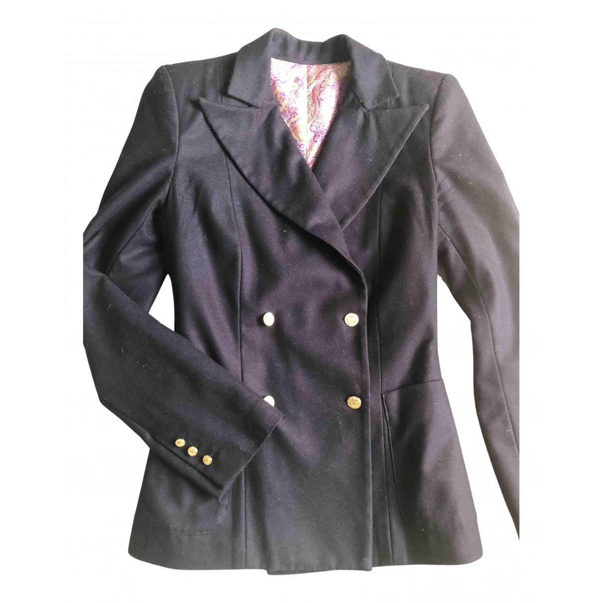 Non Signé / Unsigned N Blue Wool jacket for Women 36 FR