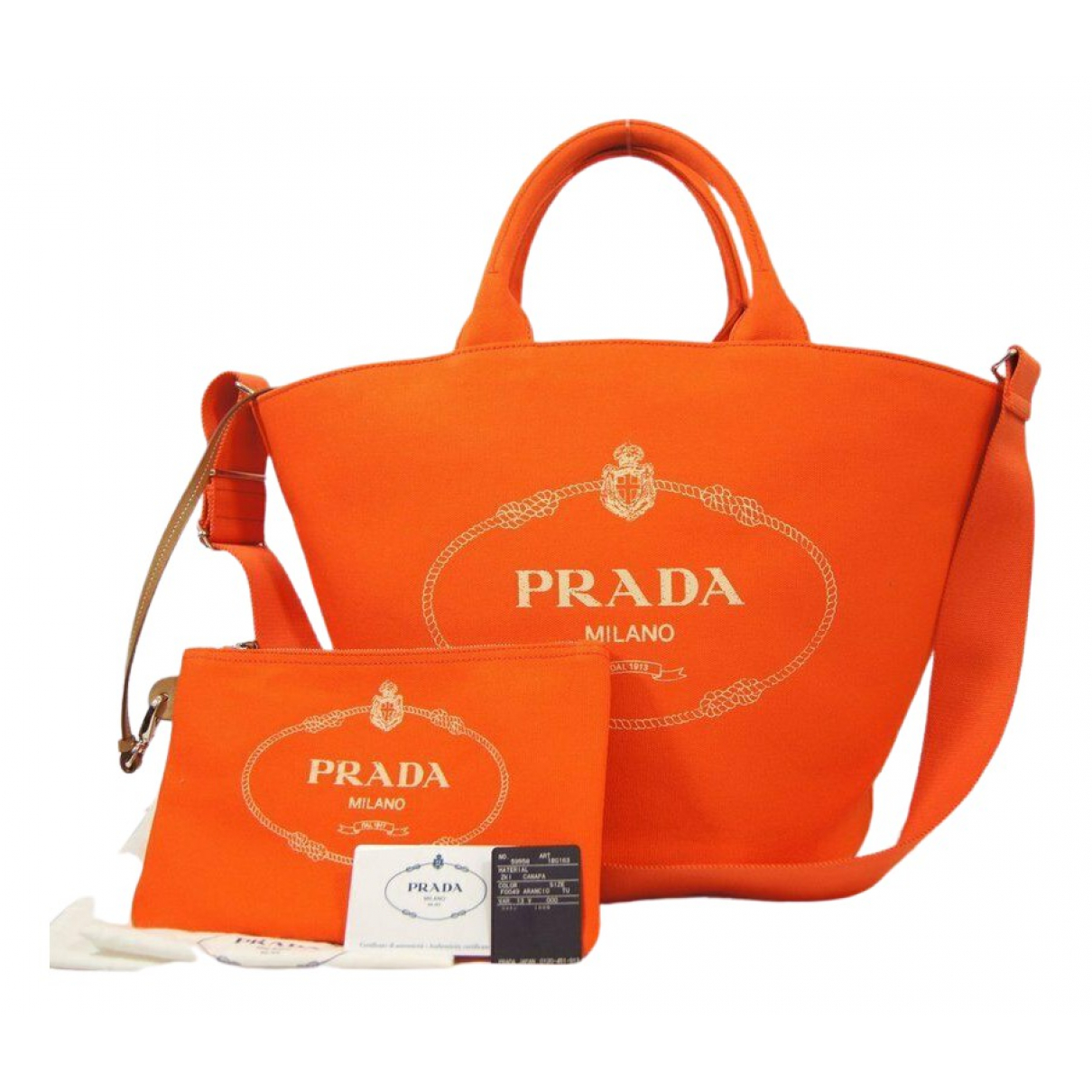 Prada \N Handtasche in  Orange Leinen