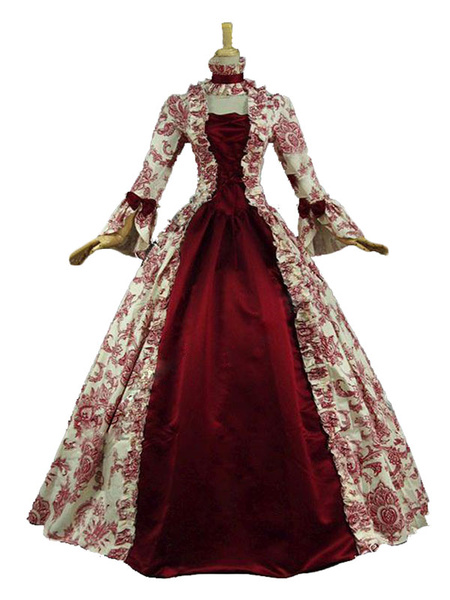 Milanoo Victorian Dress Costume Baroque Costume Dark Red Lace Ruffles Floral Print Vintage Victorian era Clothing with Choker Retro Outfits Halloween